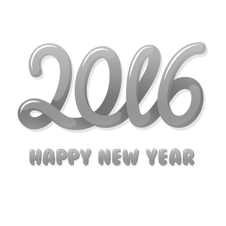 shiny metal: Happy new year 2016 hand lettering text design in shiny silver metal color. Vector illustration.