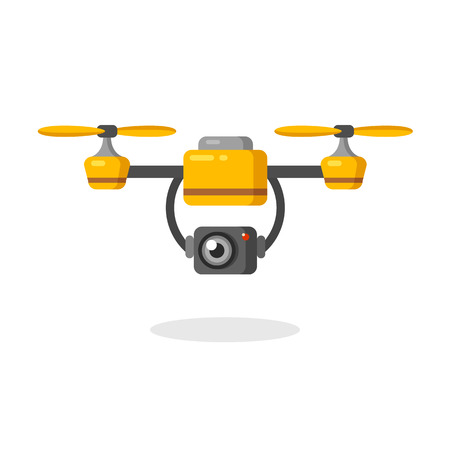 Macchina fotografica: drone aereo Quadcopter con la fotocamera per la fotografia o il video sorveglianza. Piatto illustrazione vettoriale dei cartoni animati.