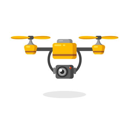 Quadcopter Antenne Drohne mit Kamera für die Fotografie oder Videoüberwachung. Wohnung Cartoon-Vektor-Illustration. Standard-Bild - 47492552