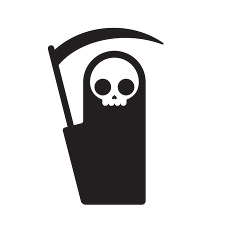 reaper: Symbolic Grim Reaper, simple flat cartoon death symbol. Isolated vector illustration. Illustration