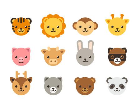 Conjunto de cabezas de animales de dibujos animados lindo, animales domésticos y salvajes. Iconos del vector de planos.
