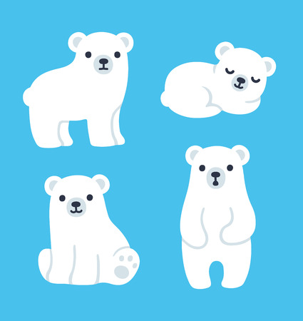 Cute cartoon polar bear cubs collection. Simple, modern style vector illustration.