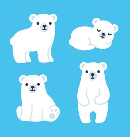 Cute cartoon polar bear cubs collection. Simple, modern style vector illustration.