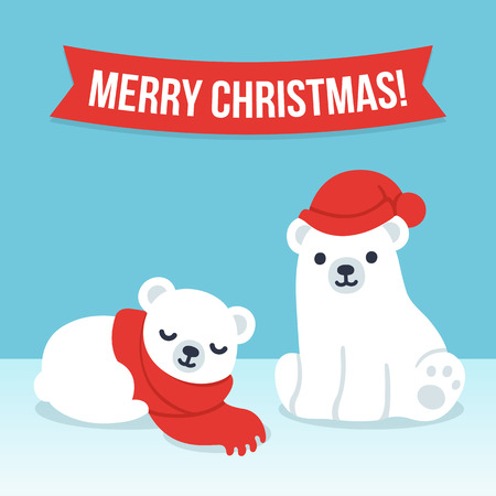 Cute cartoon polar bear cubs in winter hat and scarf with Merry Christmas text banner. Simple, modern style vector illustration.