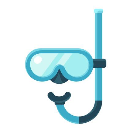 mascarilla: m�scara de buceo con snorkel icono plana, ilustraci�n vectorial moderna.