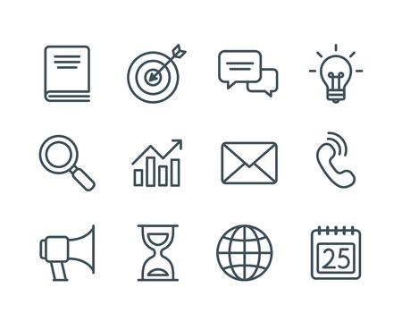 dialogo: Conjunto de iconos de líneas de negocios, el vector de estilo moderno sencillo y limpio. Negocios símbolos y metáforas en contornos finos con ictus editable.