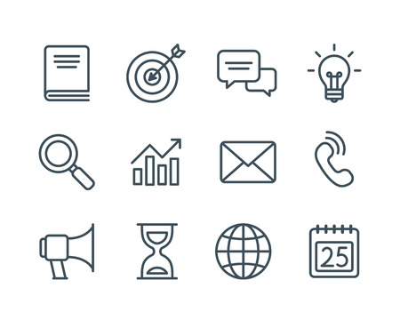 Set of business line icons, simple and clean modern vector style. Business symbols and metaphors in thin outlines with editable stroke. Çizim