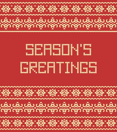 Vector pattern: lời chào mùa giải: Scandinavian phong cách áo len hoa văn liền mạch với văn bản đan cách điệu. Vector hình minh họa.