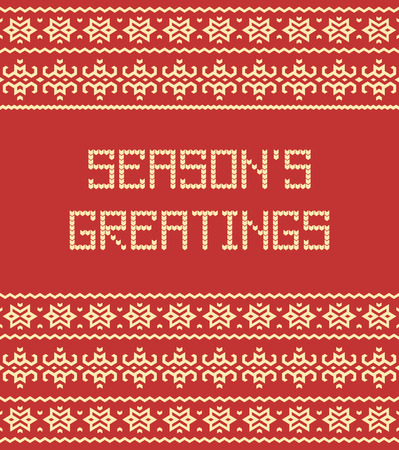 sueter: Seasons greetings: Scandinavian sweater style seamless pattern with stylized knitted text. Vector illustration.