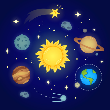 bright sun: Hand drawn solar system doodle with glowing sun, planets, asteroids and other outer space objects. Cute and bright illustration.