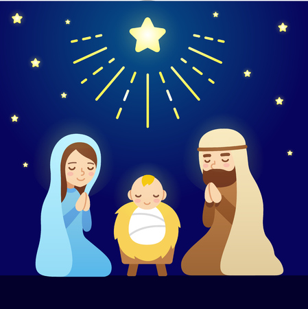 Christmas Nativity Scene with baby Jesus, Mary and Joseph under sky of stars. Modern vector cartoon illustration. Çizim