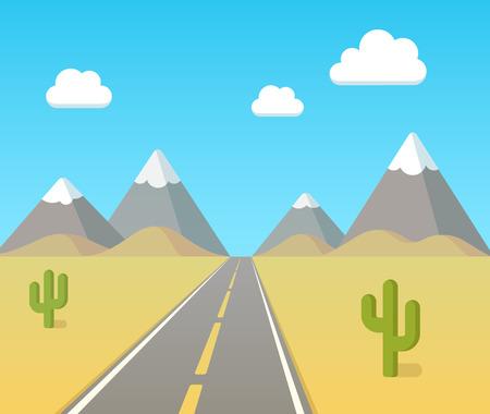 caricatura mexicana: Carretera a través del desierto con el cielo azul, las nubes y las montañas en el horizonte. Ilustración de dibujos animados de vectores plana.