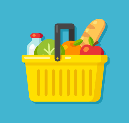 fresh apple: Bright cartoon supermarket basket icon full of produce. Flat vector illustration.