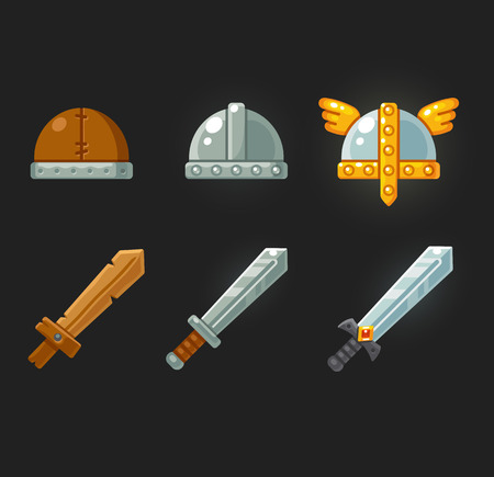rpg: Set of cartoon swords and helmets for video game. Modern flat vector illustration.