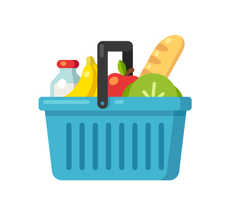 Bright cartoon supermarket basket icon full of produce: fruits, vegetables, milk and bread. Flat vector illustration.