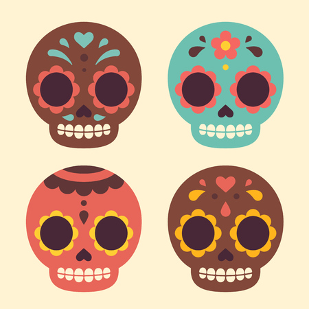 skeleton cartoon: Mexican Day of the Dead sugar skulls. Cute and modern flat vector illustration.
