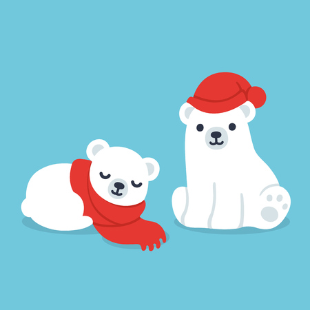 Cute cartoon polar bear cubs in winter clothes: hat and scarf. Simple, modern style vector illustration. Иллюстрация