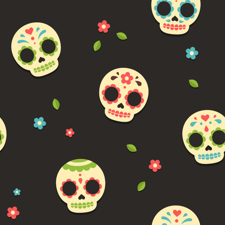 Mexican Day of the Dead sugar skull seamless pattern. Cute and modern flat vector illustration.