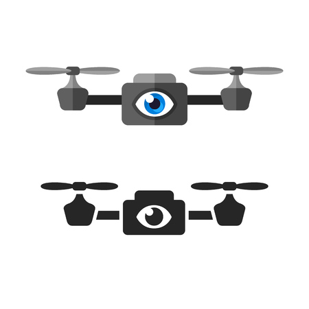 camera: Quadcopter surveillance aerial drone with eye symbol. Flat cartoon vector illustration in two variants: color and black and white.