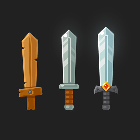 gems: Set of cartoon game swords for different levels of a video game. Modern flat vector illustration.