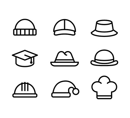 construction icon: Line icon set of hats: casual, formal and professional. Isolated vector illustration.