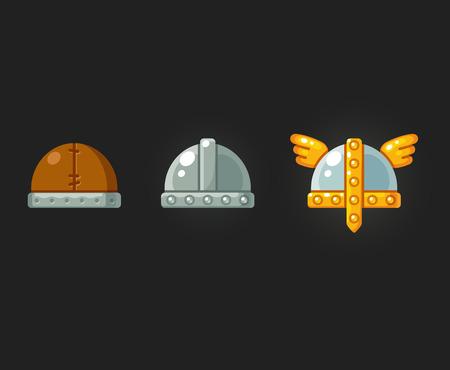 Medieval helmets vector icon set for video game. Modern flat illustration.