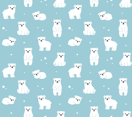 Vector seamless pattern with cute cartoon polar bear cubs.
