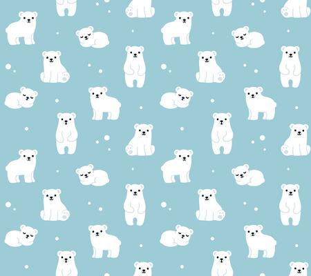 Vector seamless pattern with cute cartoon polar bear cubs.