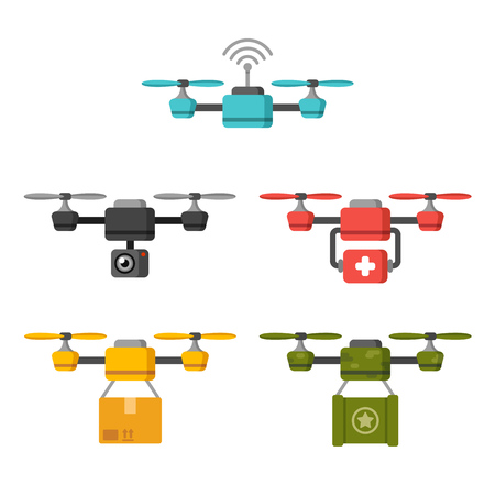 military press: Set of quadcopter aerial drones with different functions: surveillance, delivery, medical, military. Flat vector illustration. Illustration