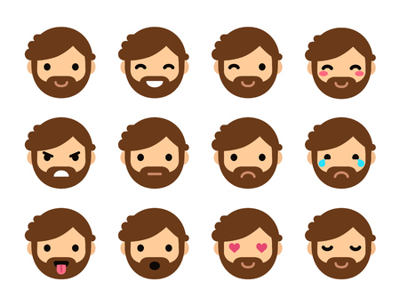 emoticons: Set of 9 human emoticons. Simple and expressive cartoon male faces with beard. Modern flat vector style. Illustration