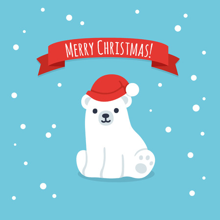 polar: Cute cartoon polar bear cub in Christmas hat with Merry Christmas ribbon banner. Simple, modern style vector greeting card illustration.