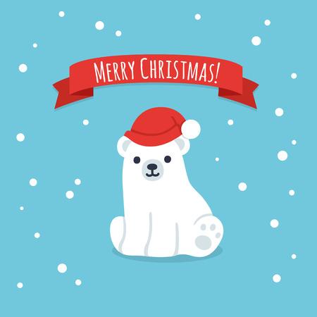 osos navideños: Dibujos animados lindo cachorro de oso polar en el sombrero de la Navidad con la bandera de la cinta Feliz Navidad. Sencilla y moderna del vector del estilo ejemplo de la tarjeta de felicitación.