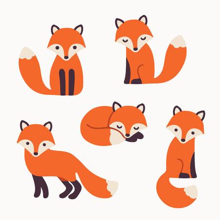 hayvanlar: Modern basit bir düz stilde sevimli karikatür tilki ayarlayın. İzole vektör çizim