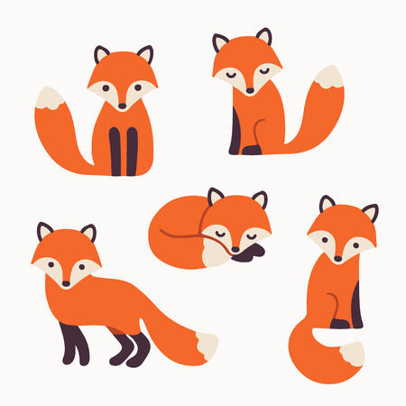 simple: Set of cute cartoon foxes in modern simple flat style. Isolated vector illustration Illustration