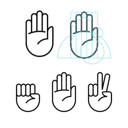 Rock, papier, schaar lijn pictogrammen in moderne geometrische stijl. Geïsoleerde vector illustratie.