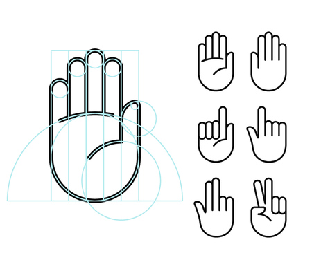 Hand gesture line icon set in modern geometric style with construction lines. Isolated vector illustration of human hands.
