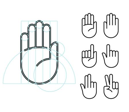 manos: Mano icono de la línea gesto establecido en el estilo geométrico moderno, con líneas de construcción. ilustración vectorial aislado de manos humanas. Vectores