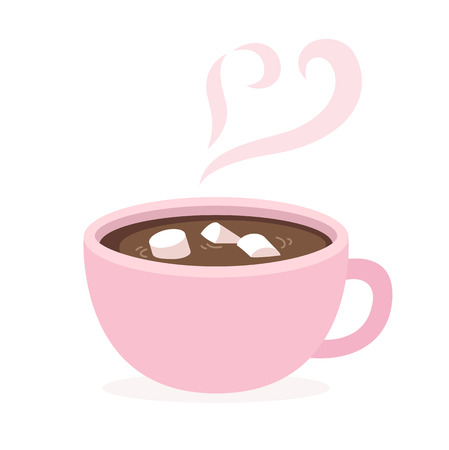 hot cup: Cup of hot chocolate with marshmallows and heart shaped steam. Cute and simple flat style. Isolated vector illustration.