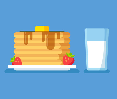 strawberry cartoon: Healthy breakfast illustration, stack of pancakes with butter and syrup, strawberries and glass of milk. Modern flat vector icon.