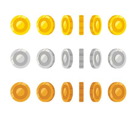 jeu: pièces de bande dessinée plates Rotation des images pour le web, le jeu ou l'interface de l'application. Or, argent et bronze. Jeu moderne de vector art illustration.