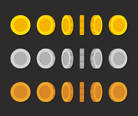 sprite: Flat cartoon coins rotation frames for web, game or app interface. Golden, silver and bronze. Modern vector game art illustration.