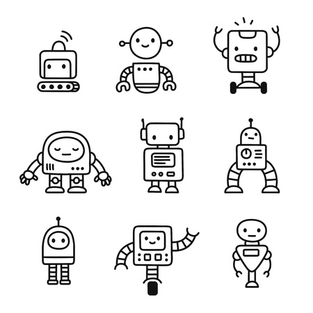Cute little cartoon robots set. Hand drawn doodle style line art. Isolated vector illustration. Vettoriali