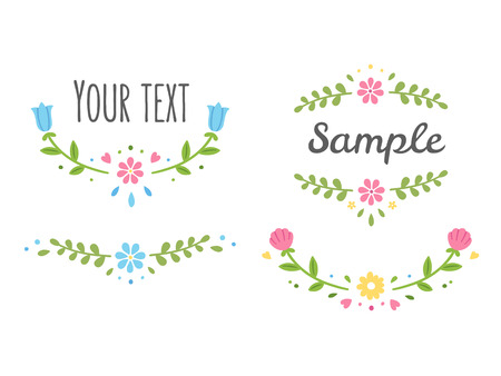 retro frame: Hand drawn decorative floral frame elements: flowers and wreaths for your design. Vector illustration.