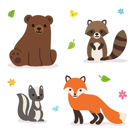 かわいい漫画の森動物: クマ、キツネ、アライグマ、スカンク。ベクトル図を分離しました。