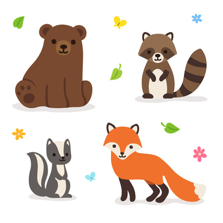 Cute cartoon forest animals: bear, fox raccoon and skunk. Isolated vector illustration.