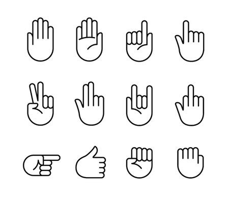 dedo: gestos com as mãos e língua de sinais ícone da linha fina set. ilustração vetorial isolada de mãos humanas.