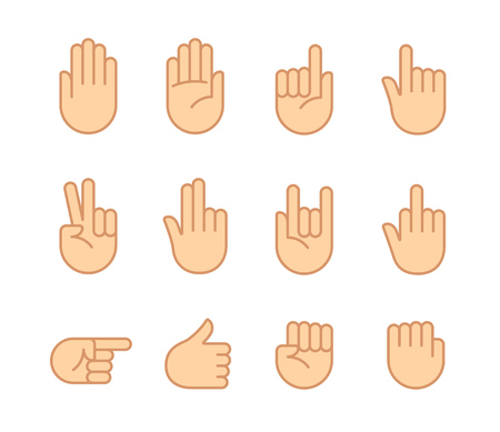 Hand gestures and sign language icon set. Isolated color illustration of vector human hands.