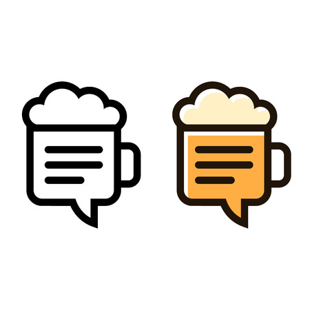 mug: Beer mug line icon with stylish negative space speech bubble. Social drinking symbol vector illustration. Modern creative logo in black and color variants.