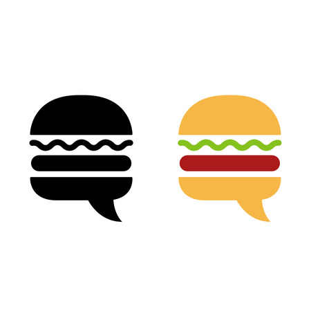 meal: Burger icon or logo with stylish negative space speech bubble. Modern creative sign in black and color variants. Vector illustration. Illustration