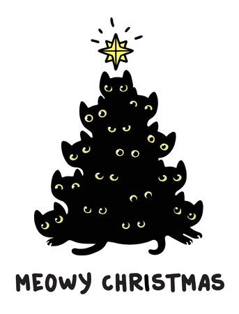 かわいい漫画本文 Meowy クリスマス クリスマス ツリー シルエットの黒い猫。面白いグリーティング カード ベクトル イラスト。